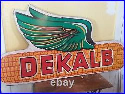 Large VINTAGE Wooden DEKALB ADVERTISING SIGN Ear of Corn. 63 1/2 ×33 dbl. Side
