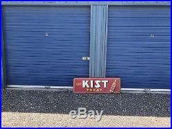Large Vintage 1940's Kist Orange Soda Pop Gas Oil 54 Embossed Metal Sign