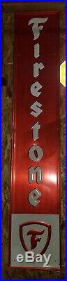 Large Vintage 1950/60's Firestone Tires Gas Station Oil 72 Embossed Metal Sign