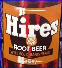 Large Vintage 1950s Hires Root Beer Soda Pop Bottle 57 Embossed Metal Sign
