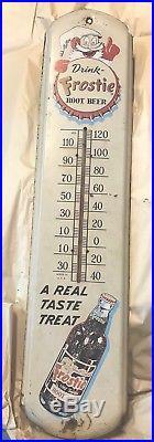 Large Vintage Frostie Root Beer Soda Pop 36 Metal Thermometer Advertising Sign
