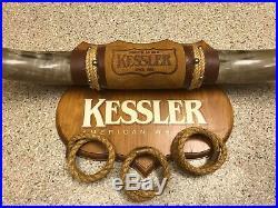 Large Vintage Kessler American Whiskey Bull Horn Bar Sign Advertisement 31