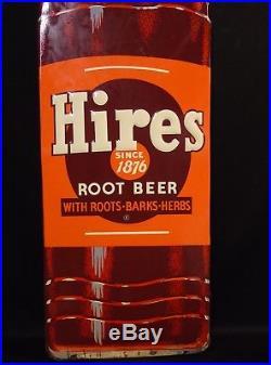 Large Vintage NOS Hires Root Beer Soda Pop Bottle Advertising Sign Enamel Metal