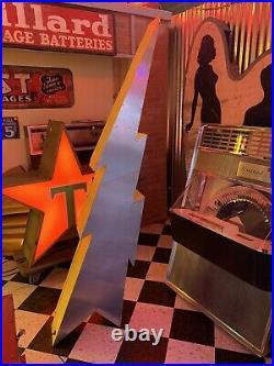 Large Vintage Neon Lightning Bolt Sign RESTORED REWIRED Seven Feet Tall 1 Of 2
