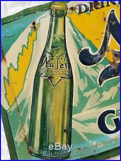 Large Vintage NuIcy Nu Icy Ginger Ale Embossed Metal Sign Approx 11 x 23