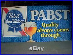 Large Vintage Original 1970's Pabst Blue Ribbon Beer Metal Sign