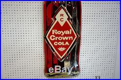 Large Vintage RC Royal Crown Cola Soda Pop Embossed Metal Sign 1950s mid-century