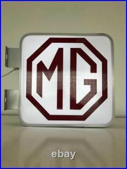 MG Dealership Garage Workshop Vintage Classic Car Illuminated Advertising Sign