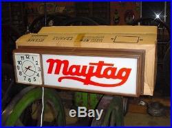 Maytag Vintage Advertising Lighted Sign Clock Hit Miss Motor Washing Machine