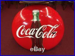 Mid Century Coca Cola COKE Porcelain 36 Vintage Advertising Sign Watch Video