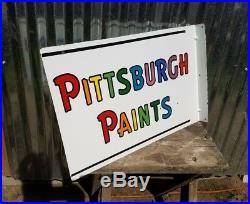 Minty Vintage Original Pittsburgh Paints Porcelain Enamel Flanged Sign