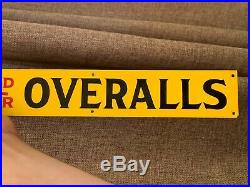 NOS Finck's Overalls Painted Tin Advertising Sign Denim Rare Jeans Red Bar