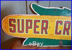 OLD VINTAGE RARE SUPER CROST SEED CORN MASONITE FIELD SIGN 1940's FARM MAN CAVE