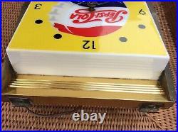ORIGINAL VINTAGE 1950s PEPSI COLA SODA LIGHTED CLOCK ADVERTISING SIGN RARE