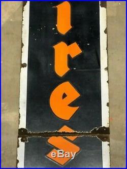 ORIGINAL Vintage FIRESTONE TIRE Vertical PORCELAIN 6' Sign Gas Oil Patina OLD