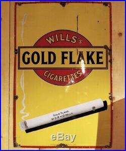 Old Antique Vintage Wills Gold Flake Cigarettes Enamel Sign 1930's