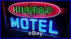 Old Original Vintage Hilltop Motel Porcelain Neon Sign