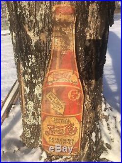 Old Vintage Original 1930's Die Cut Pepsi Cola Soda bottle Advertising Sign