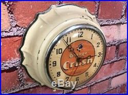 Old Vtg Ingraham Deco Store Advertising Orange Crush Soda Diner Wall Clock Sign