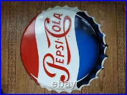 Origina Large Vintage Pepsi Cola Soda Pop Bottle Cap Metal SignNice very old