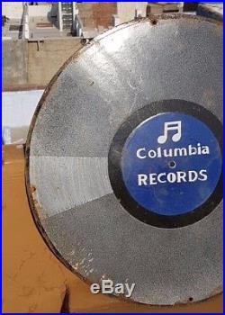 Original 1920's Old Vintage V RARE Columbia Records Porcelain Enamel Sign Board