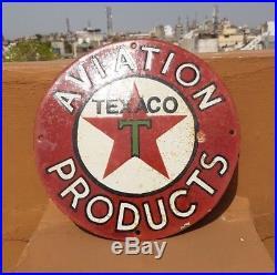 Original 1930's Old Antique Vintage RARE Texaco Oil Porcelain Enamel Sign Board