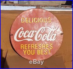 Original 1940's Old Vintage Rare Delicious Coca-Cola Porcelain Enamel Sign Board