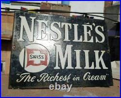 Original 1940's Old Vintage Rare Nestle's Milk Ad. Porcelain Enamel Sign Board