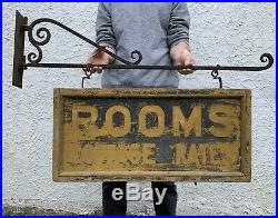 Original AAFA Antique Early 1900s Double Sided Wooden Rooms Trade Sign Withbracket