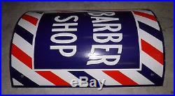 Original And Vintage Porcelain Barber Shop Curved Pole Sign, Brackets Nice