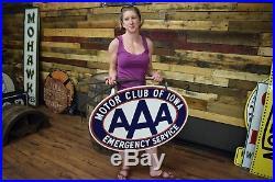 Original Clean Iowa AAA Motor Club Porcelain Sign Vintage Gas Oil Station Dealer