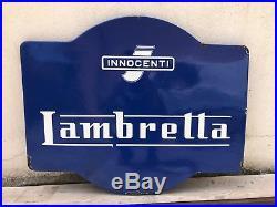 Original LAMBRETTA Enamel Sign Porcelain Service Vintage VESPA 1950s Old Scooter