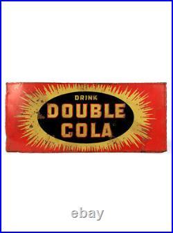 Original Rare Vintage Soda Sign Drink Double Cola Tin Sign Man Cave