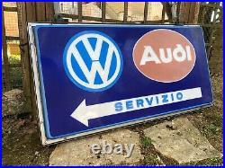 Original VOLKSWAGEN AUDI Sign Service VW Vintage 1970's Dealer Neon Lighted RARE