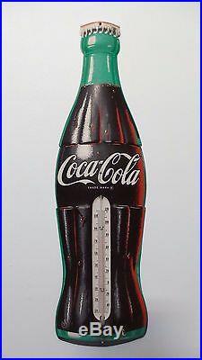 Original Vintage 1942 EMBOSSED TIN METAL COCA COLA THERMOMETER SIGN