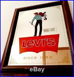 Original Vintage Levi's Advertising MIRROR 1950s SADDLEMAN DENIM COWBOY 16X14