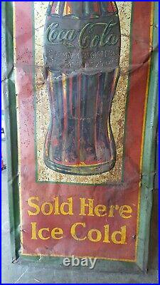 Original Vintage Metal Coke Sign COCA COLA 1931 Christmas Bottle 54 x 18