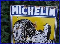 Original Vintage Michelin Shield Enamel Advertising Sign Automobilia Rare