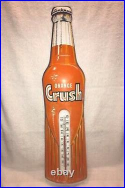 Original Vintage Orange Crush Thermometer Sign NOS