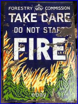Original Vintage Pictorial Enamel Sign Forestry Commission Do Not Start Fires
