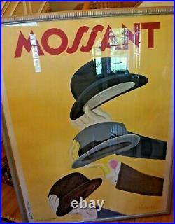 Original Vintage Poster by Leonetto Cappiello Mossant Hats 1938 Yellow Art Deco