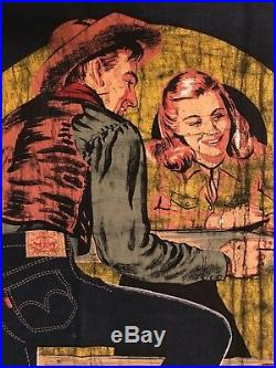 Original Vintage Selvedge Levis Advertisement Banner Mid Century Cowboy Cowgirl