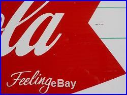Original Vintage, Tin 1950s-1960s Coca Cola Fishtail Bottle Soda Sign