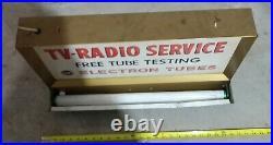 Original cool vintage RCA TV Radio Service tubes Metal light up sign
