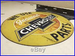 Original vintage WE USE GENUINE CHEVROLET PARTS sign service Repair Dealer RARE