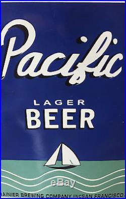 Pacific Lager Heavy Porcelain Sign/vintage/rainier Brewing Co