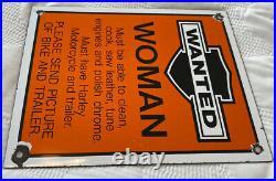 Porcelain Sign Vintage Harley Davidson Motorcycles Parts Service Dealership