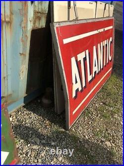 Porcelain Vintage Atlantic Gas Station Sign Large Oil Pump Can Garage Wall Decor
