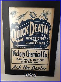 QUICK DEATH Insecticide VINTAGE Original Framed Cardboard SIGN Early 1900s