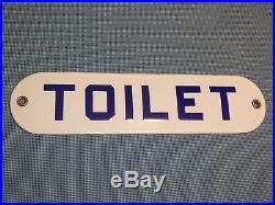 RARE 1940s OLD ORIGINAL EARLY'TOILET' PORCELAIN SIGN VINTAGE ANTIQUE GAS HOTEL
